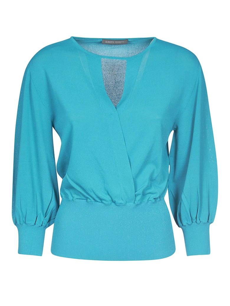 Alberta Ferretti V-neck Ribbed Sweater - Blue