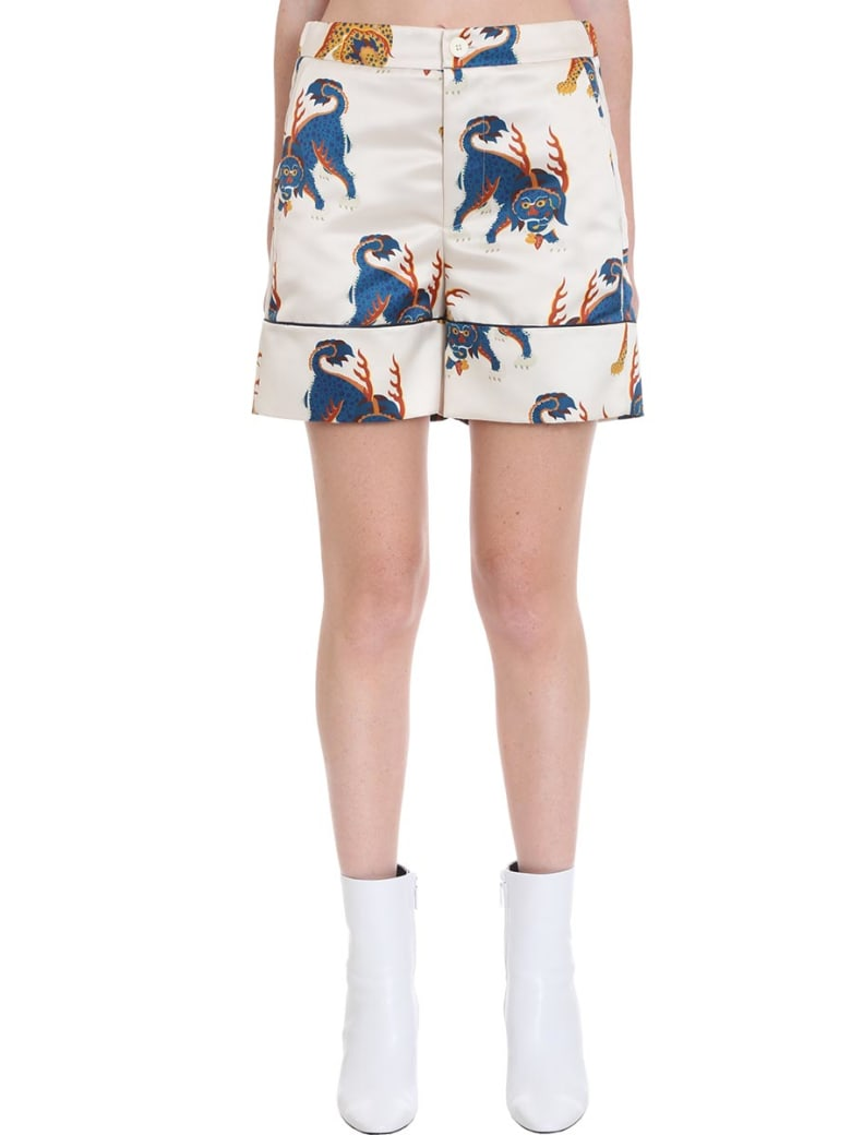 Kirin Shorts In White Satin - white