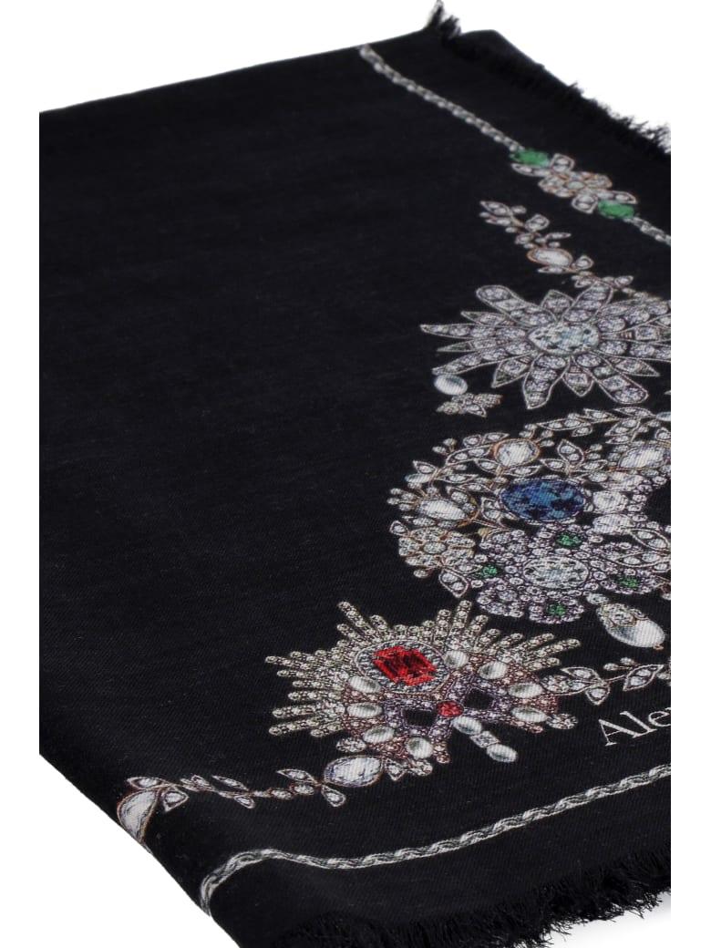 Alexander McQueen Treasure Skeleton Silk Scarf - black