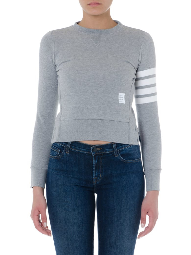 Thom Browne Grey Cotton Striped Sweatshirt - Light grey