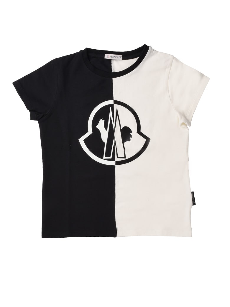 Moncler Ivory Short Sleeve T-shirt With Colored Writing - ivory