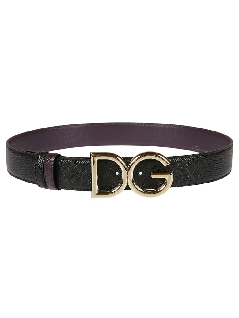Dolce & Gabbana Initials Plaque Buckle Belt - Bordeaux