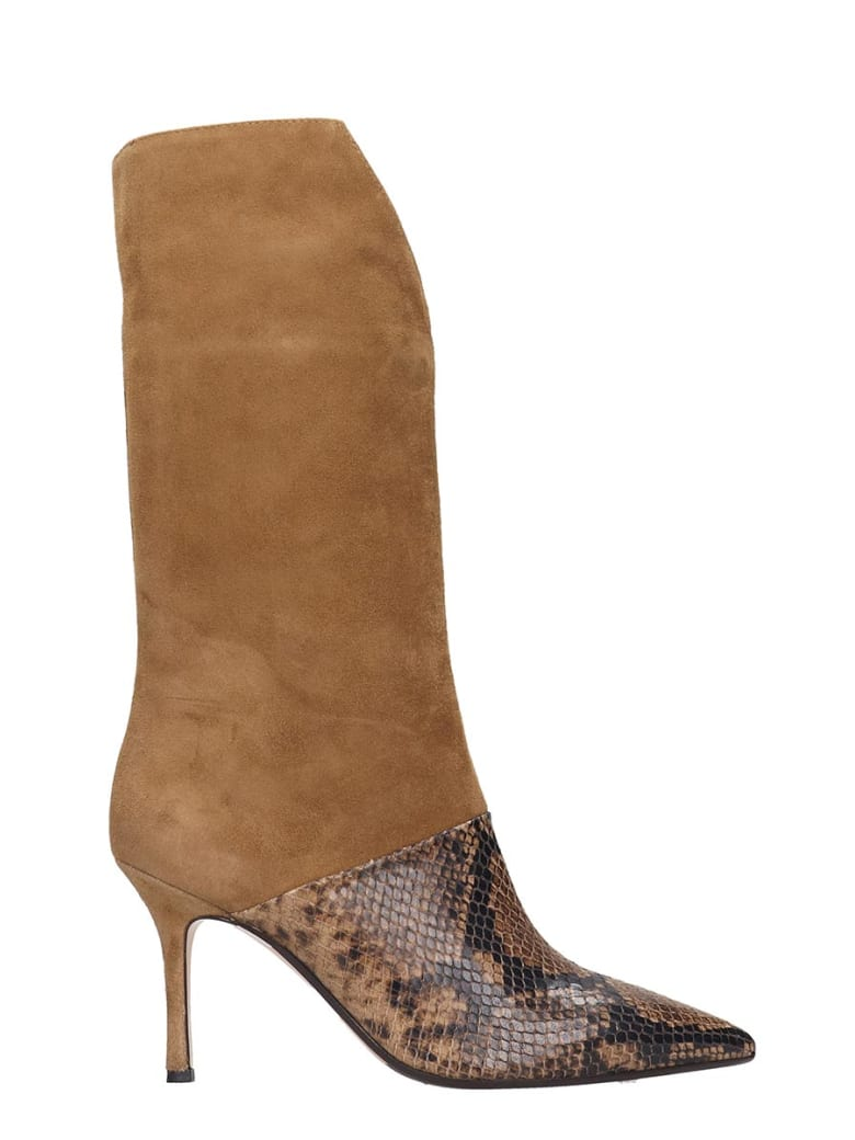 The Seller High Heels Ankle Boots In Brown Suede And Leather - brown