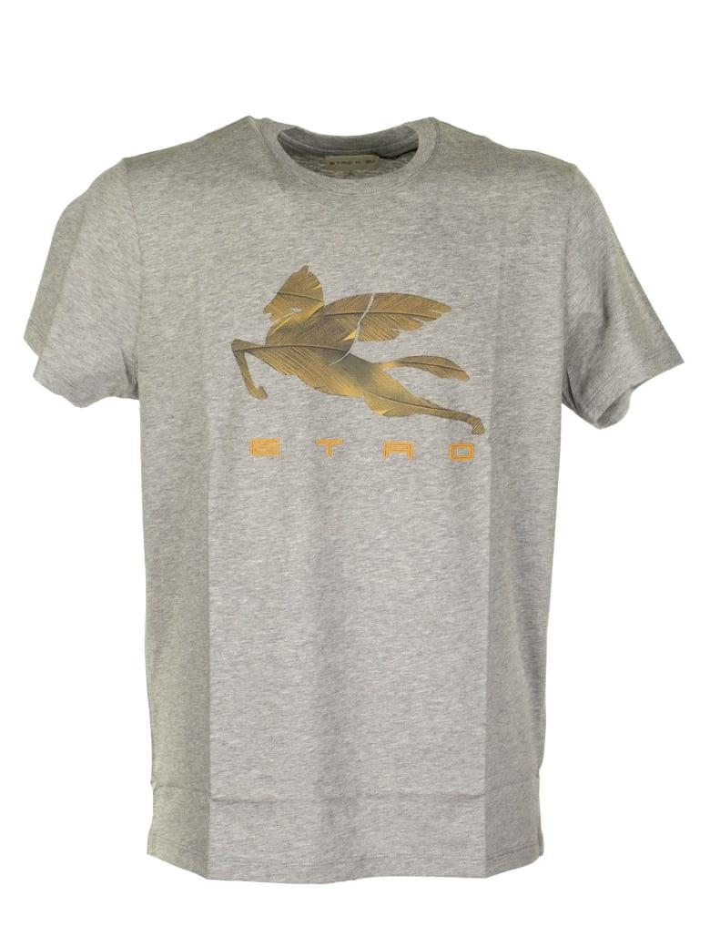 Etro T-shirt With Pegaso Print - Grey