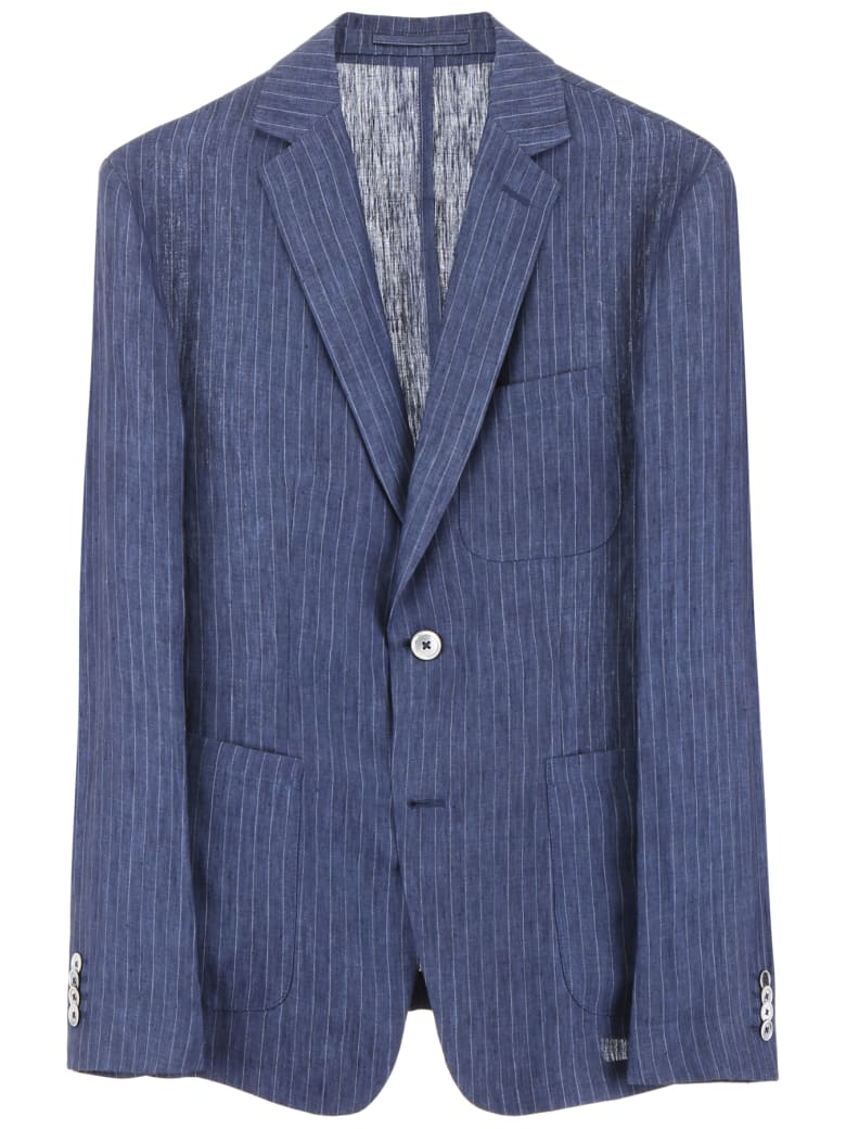 CC Collection Corneliani Pinstriped Jacket - BLU NAVY (Blue)