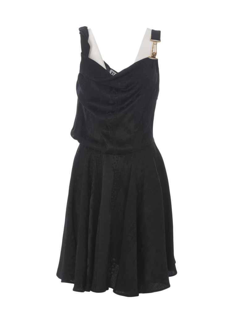 Versus Versace Logo Printed Flared Dress - Nero