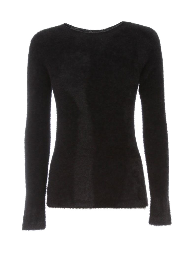 Emporio Armani Sweater L/s Boat Neck Peluche - Nero