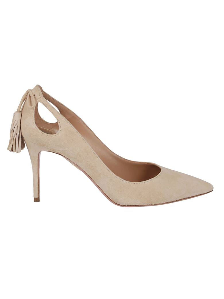 Aquazzura Nude Leather Marilyn Pumps - NUDE