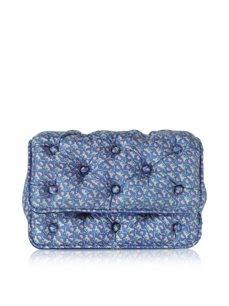 Benedetta Bruzziches Leopards Printed Blue Satin Silk Carmen Shoulder Strap - Blue