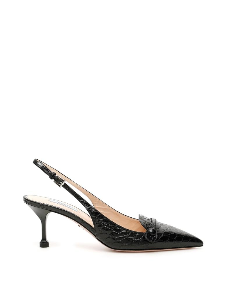 Prada Croc-print Slingbacks - NERO (Black)
