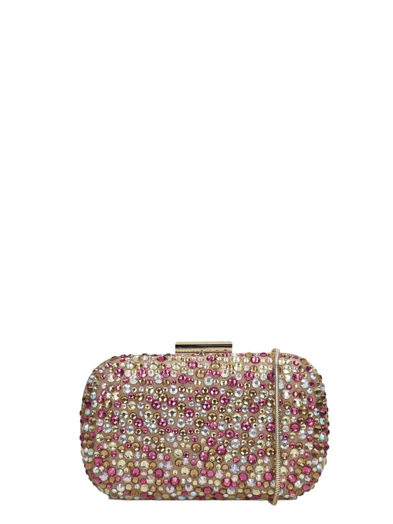 Lola Cruz Clutch Bag In Taupe Leather - taupe