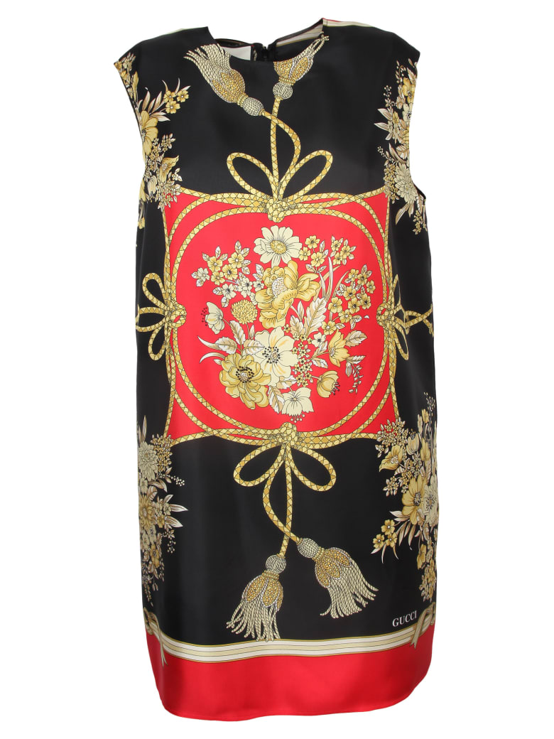 Gucci Flowers And Tassels Tunic Top - Red/black