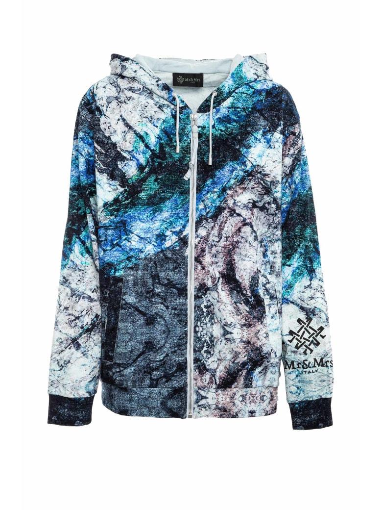 Mr & Mrs Italy Marble-printed Sweatshirt For Man - GREY BLUE MARBLE