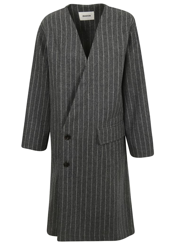 Zucca Striped Coat - Grey