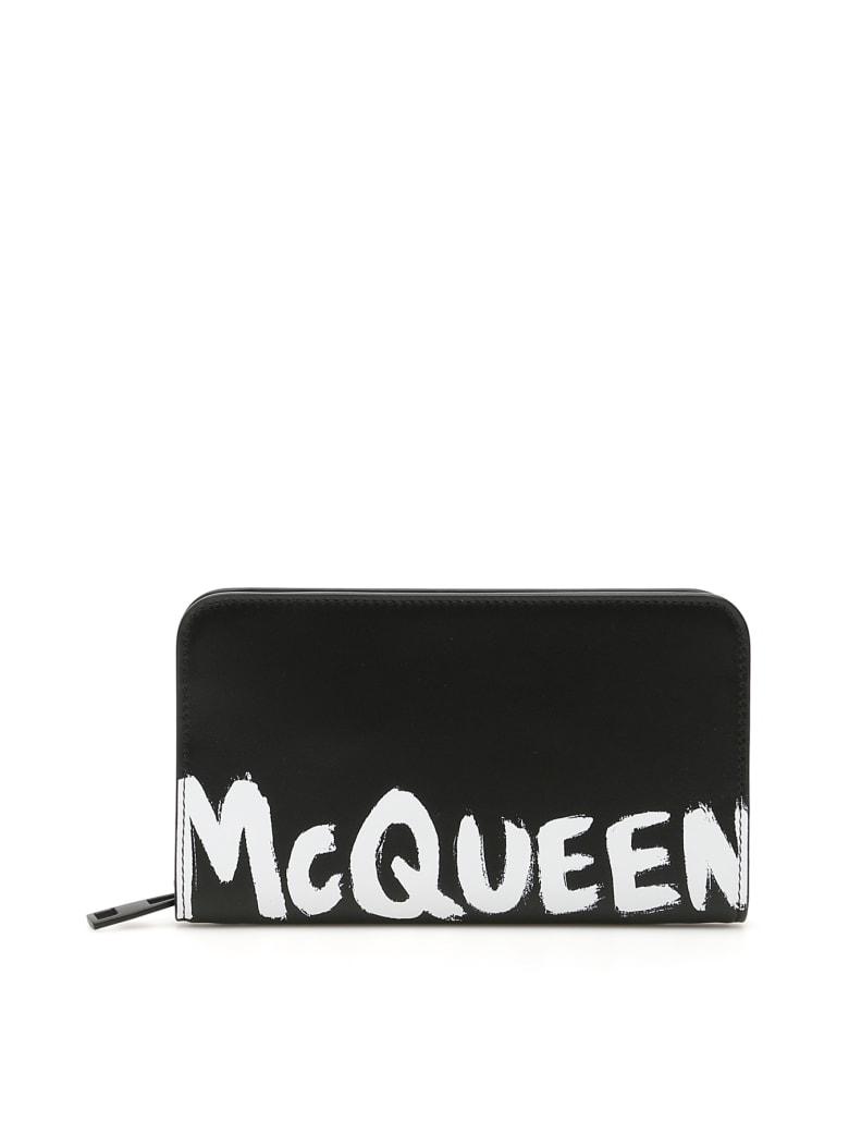 Alexander McQueen Logo Zip-around Wallet - BLACK WHITE (Black)