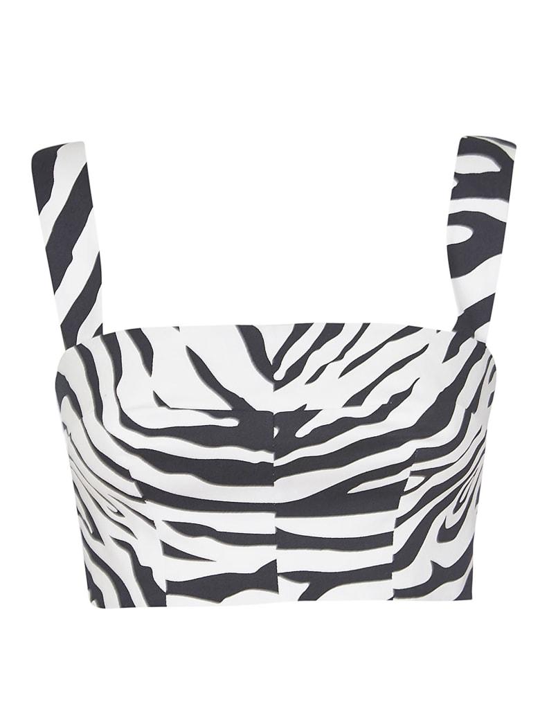 Dolce & Gabbana Zebra Print Cropped Top - white black