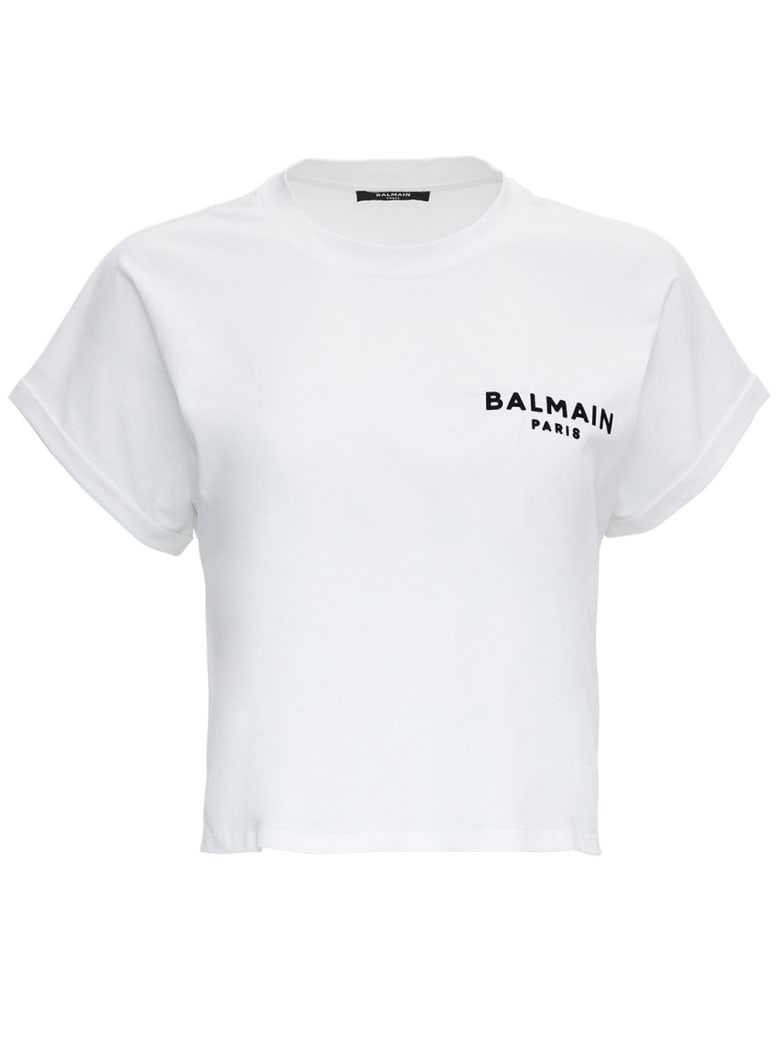 Balmain Cotton T-shirt With Logo - White/black