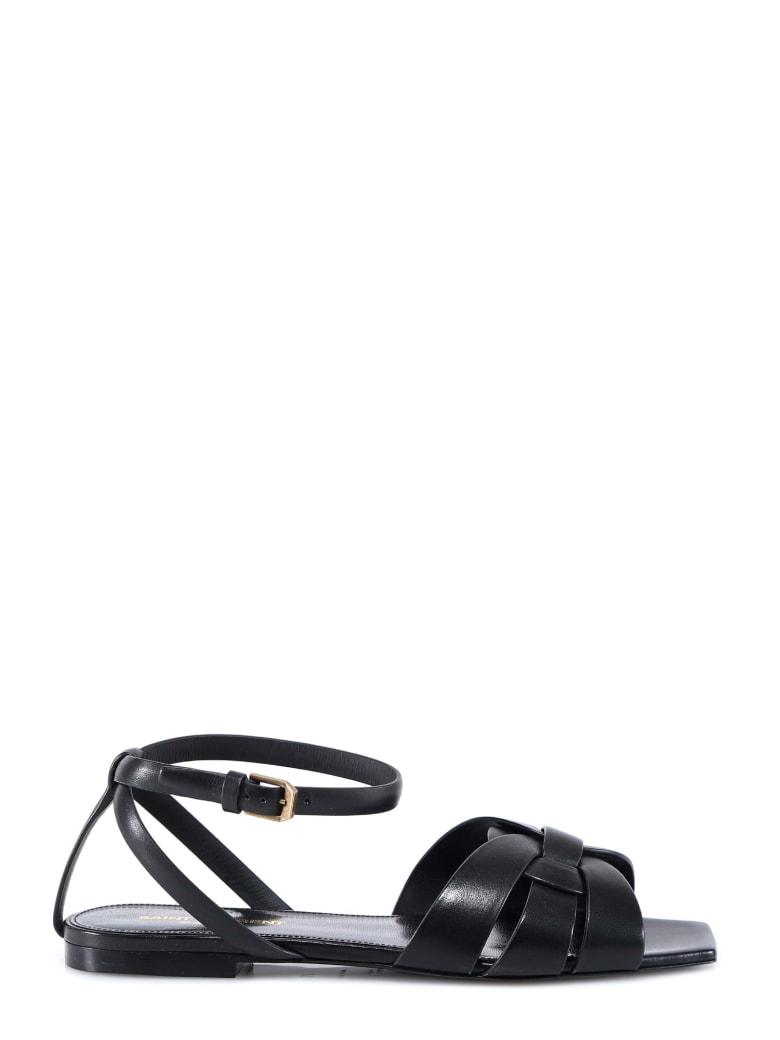 Saint Laurent Flat Tribute Sandals - Black