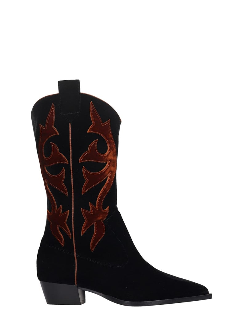 GIA COUTURE Texan Boots In Black Velvet - black