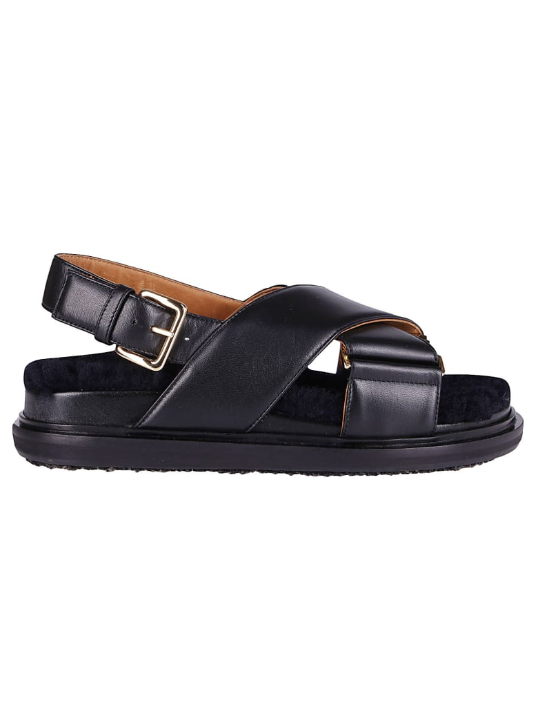 Marni Black Leather Fussbett Sandals - Black