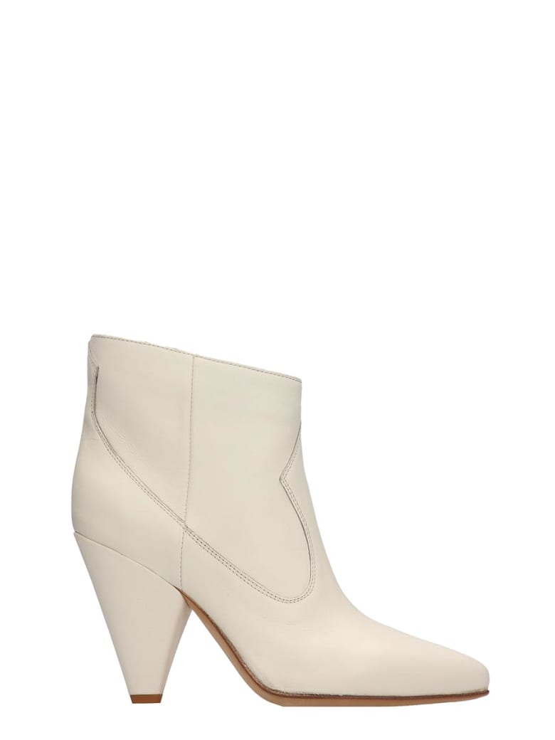Buttero White Leather Ankle Boots - white