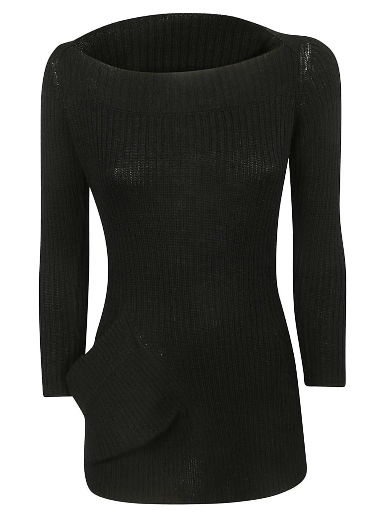 Y's Boat Neck Sweater - Black