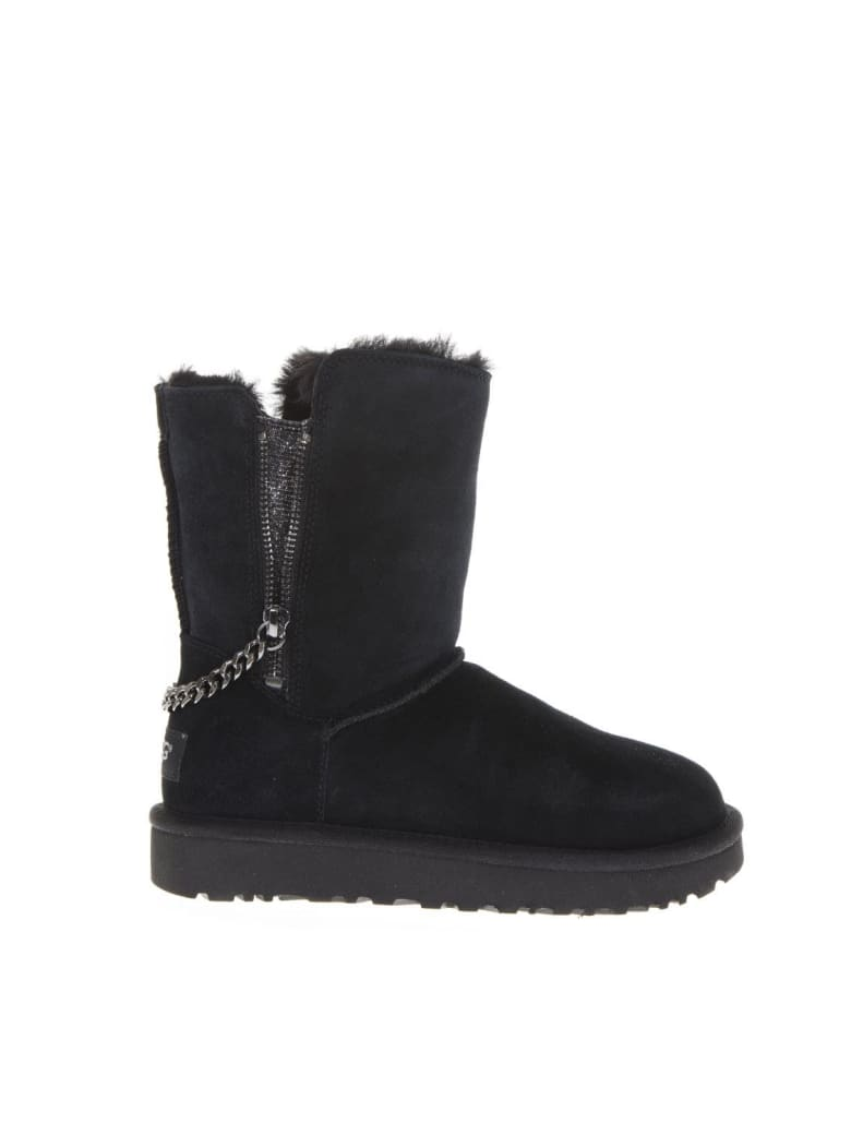 UGG Black Leather Classic Ankle Boots - Black