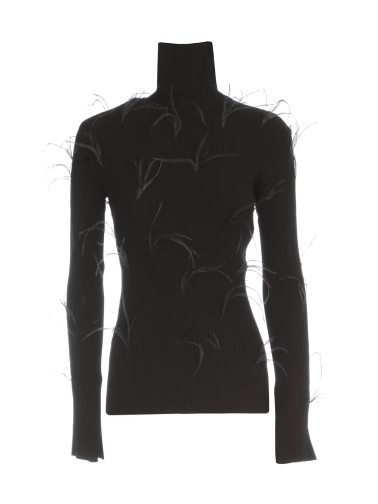 Marques'Almeida Light Weight Feather Turtleneck Jumper With Flared Sleeves - Black