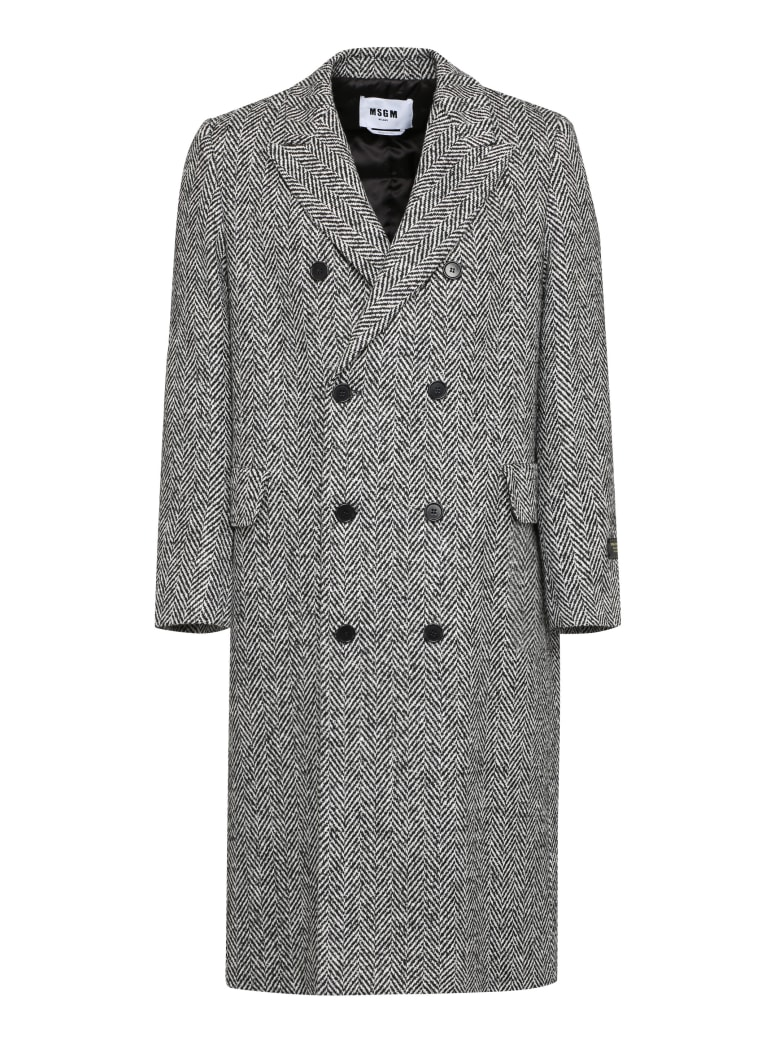 MSGM Padded Double-breast Peacoat - Multicolor