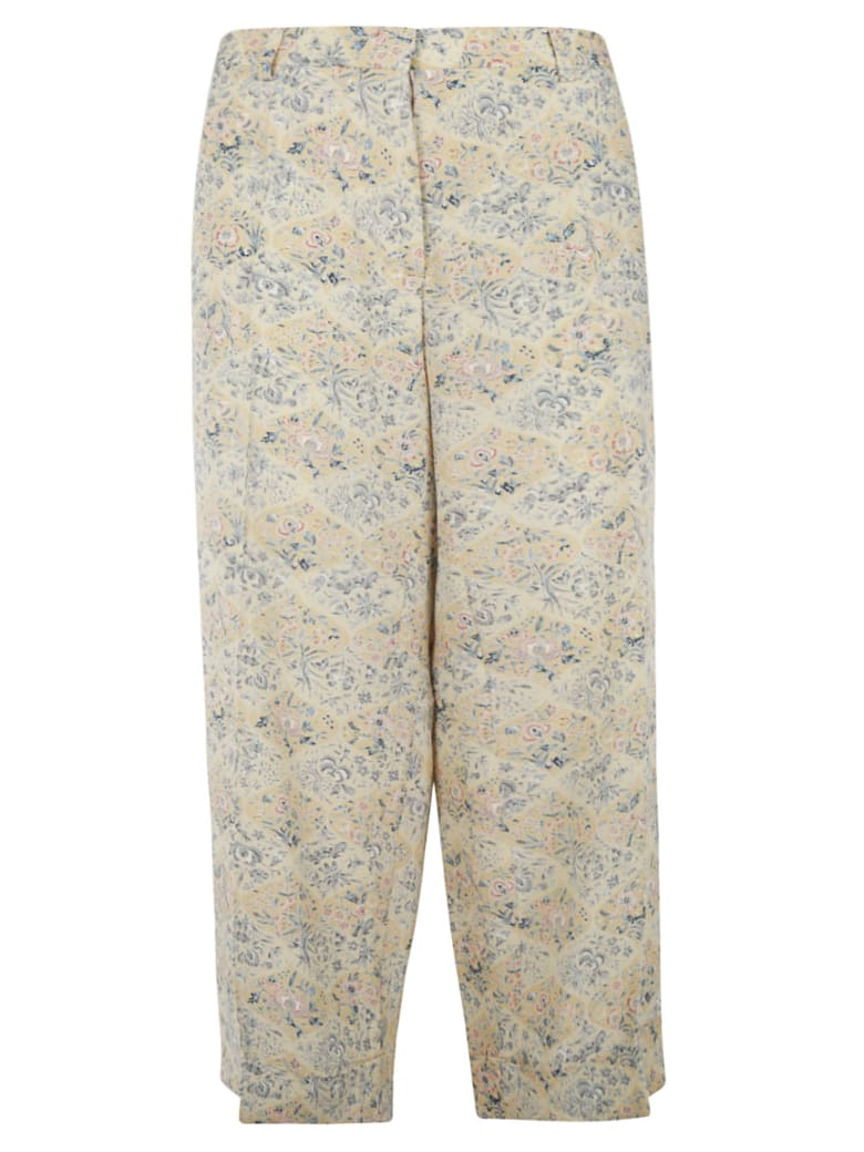 Ibrigu Floral Print Long Trousers - Beige/Multicolor