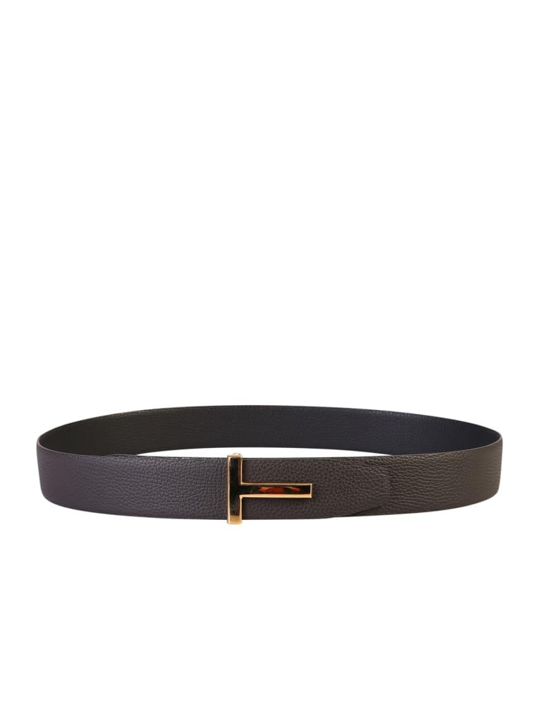 Tom Ford Branded Belt - Marrone e Nero