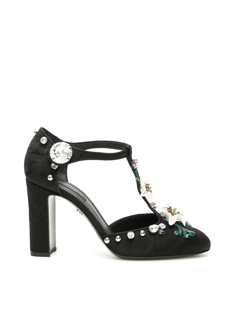 Dolce & Gabbana T-strap Sandals With Lilies - NERO (Black)