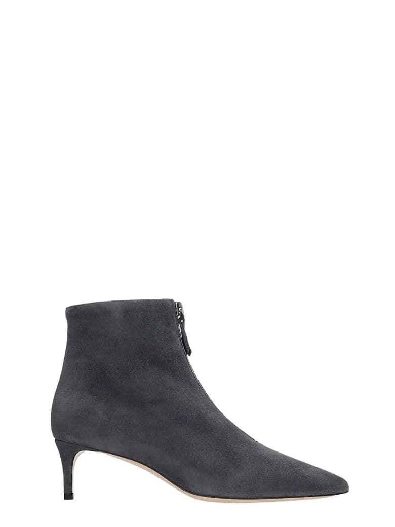 Dei Mille Low Heels Ankle Boots In Grey Suede - grey