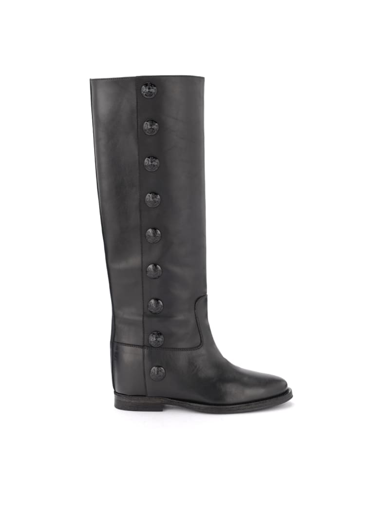 Via Roma 15 Black Leather Boot With Side Buttons - NERO