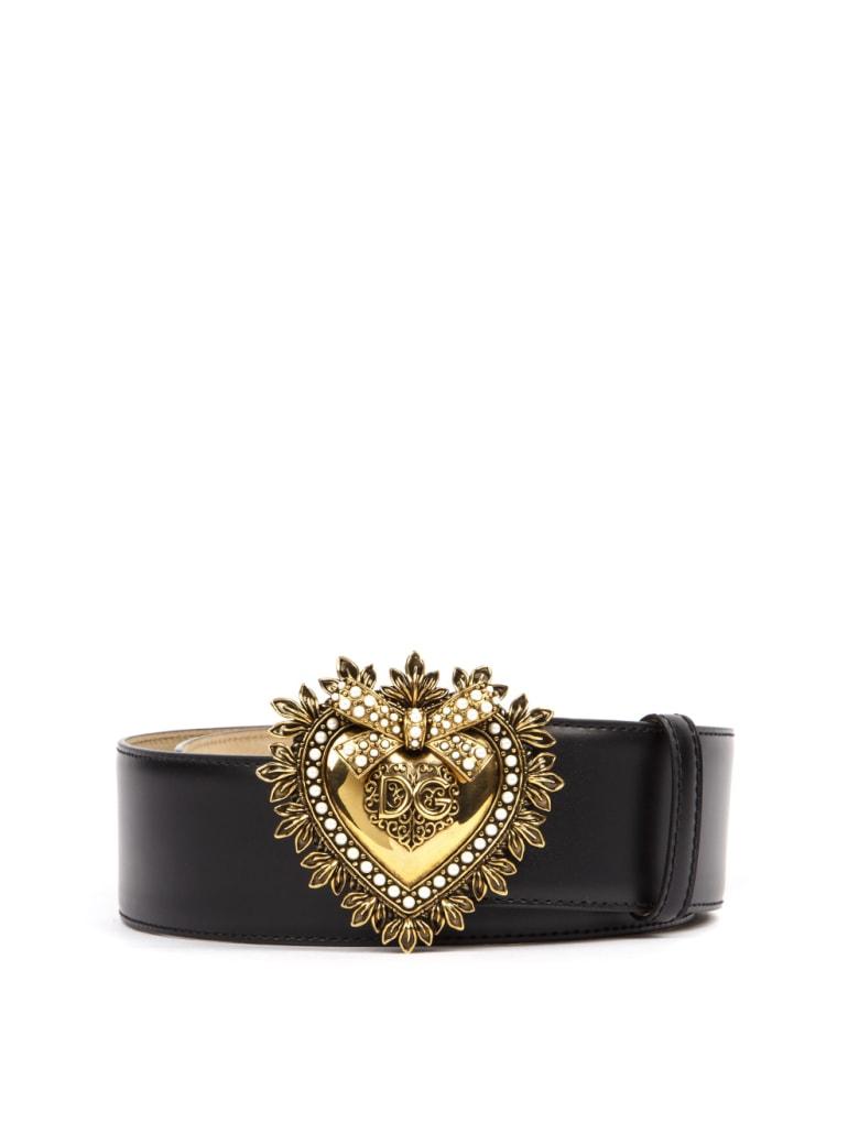 Dolce & Gabbana Black Leather Devotion Belt - Black