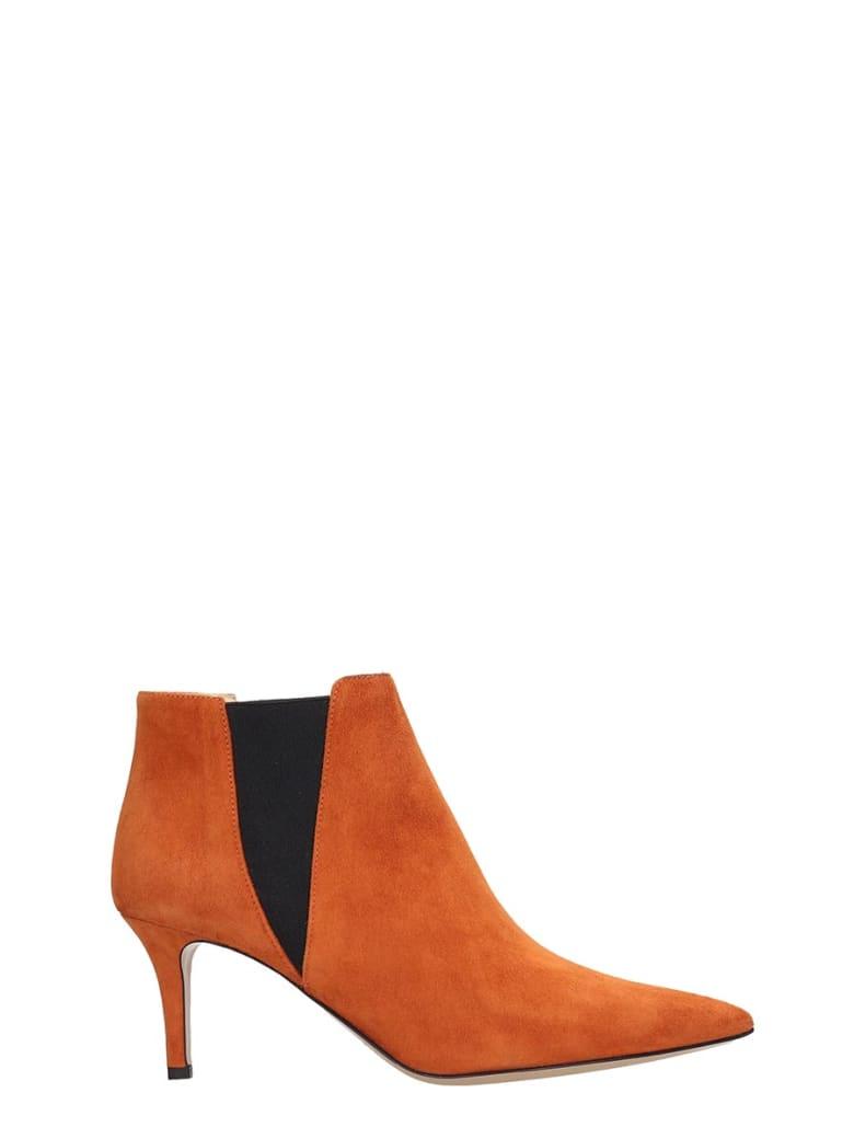 Fabio Rusconi High Heels Ankle Boots In Orange Suede - orange