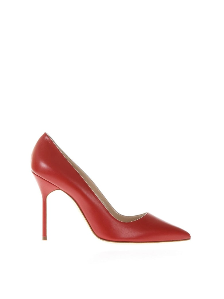 Manolo Blahnik Red Leather Bb Pumps - Red
