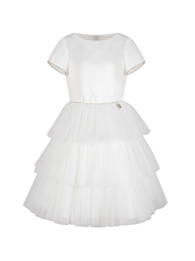 Blumarine White Dress For Girl With Rhinestones - White