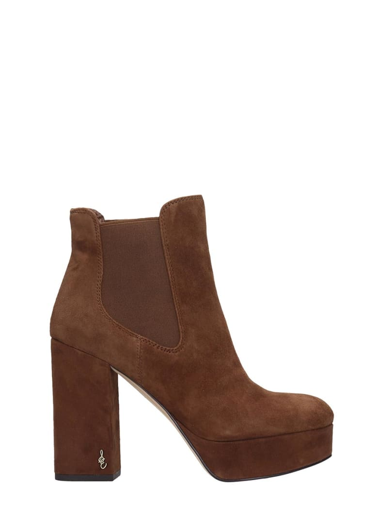 Sam Edelman Abella High Heels Ankle Boots In Leather Color Suede - leather color