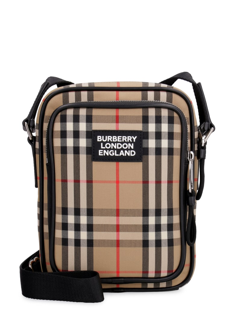 Burberry Messenger Bag With Check Motif - Beige