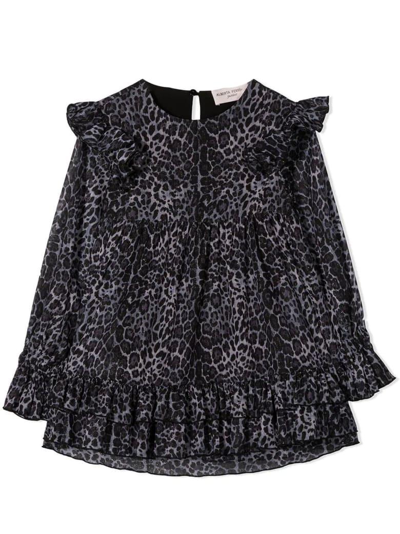 Alberta Ferretti Grey Crepe Leopard Pattern Dress - Grigio