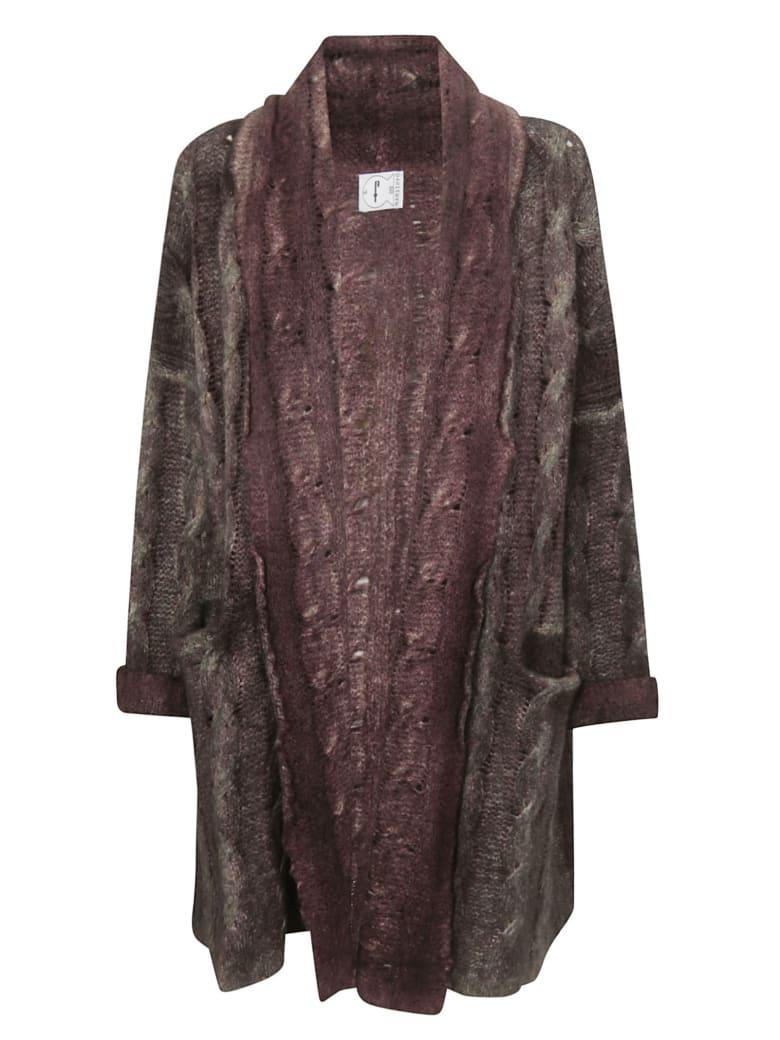 f cashmere Oversized Cardigan - Plum/Military