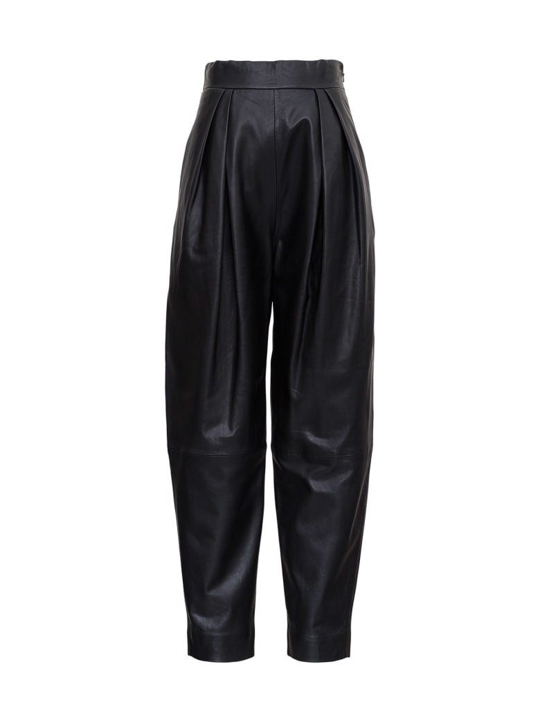 Alberta Ferretti High Waisted Leather Pants - Black