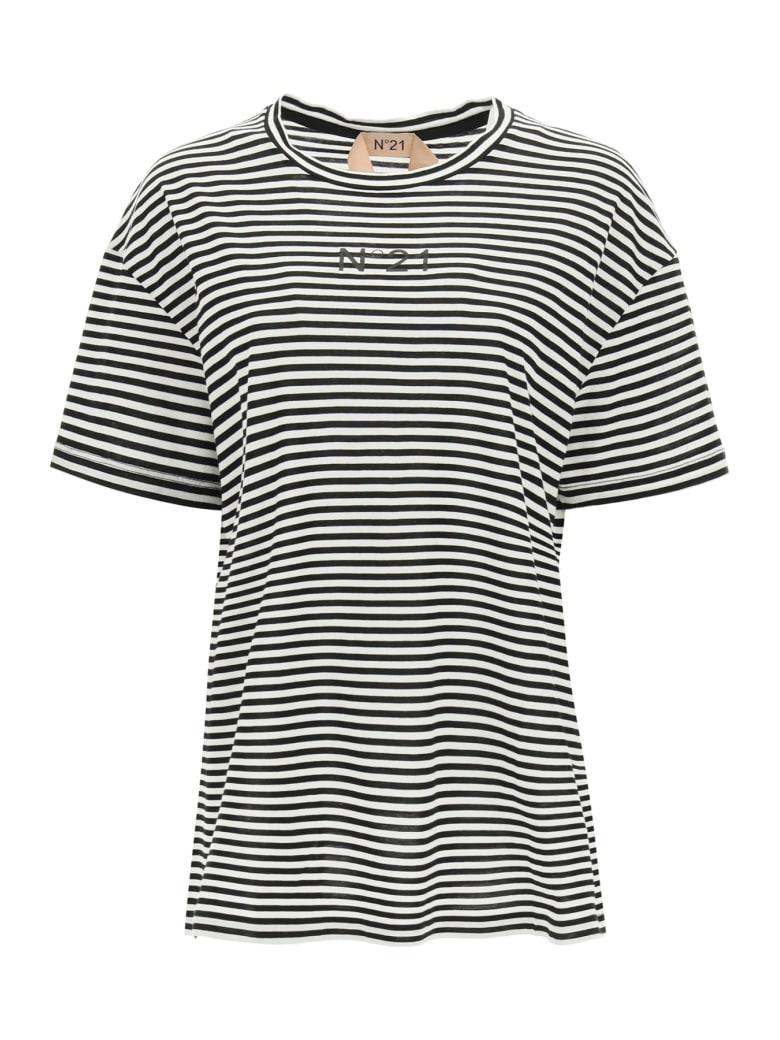 N.21 Striped T-shirt With Logo Pocket - RIGATO BIANCO NERO (White)