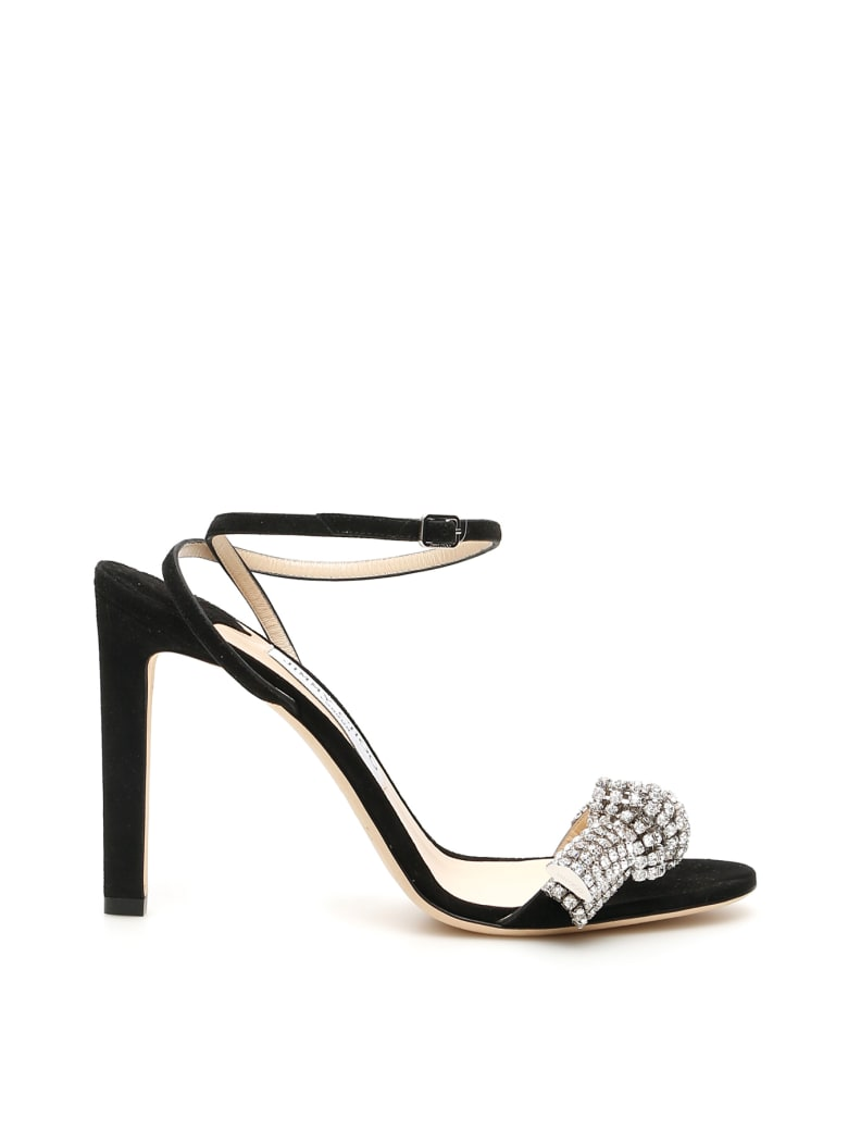Jimmy Choo Thyra Crystal Sandals - BLACK CRYSTAL (Black)