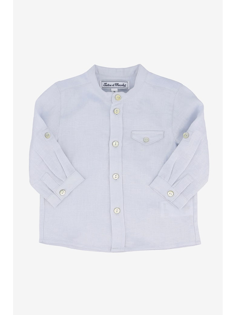 Tartine et Chocolat Shirt With Korean Collar - Azzurro
