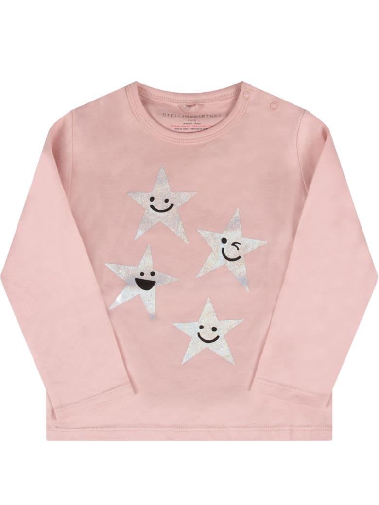 Stella McCartney Kids Pink Babygirl T-shirt With Silver Stars - Pink