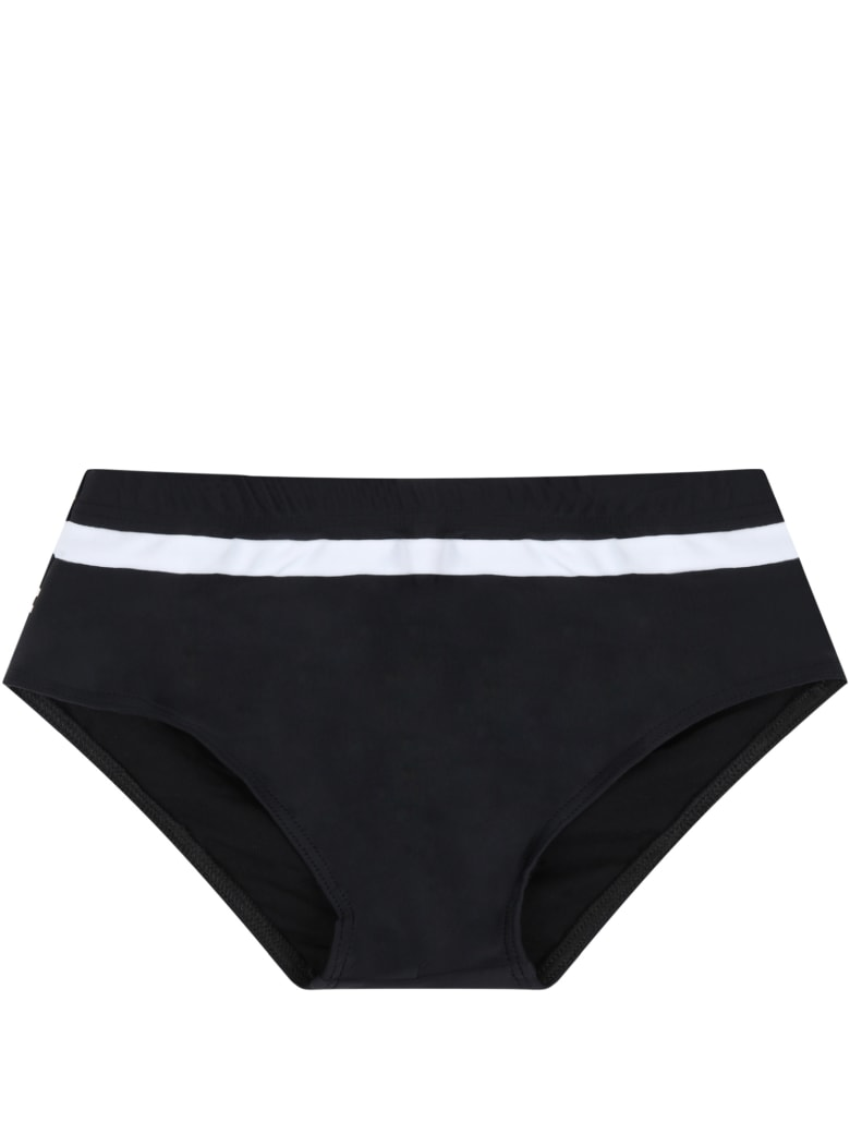 Balmain Black Swim Briefs For Boy With Logos - Nero