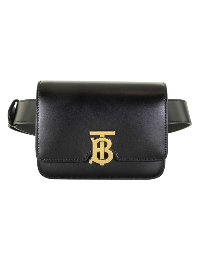 Burberry Belted Leather Tb Bag - Black