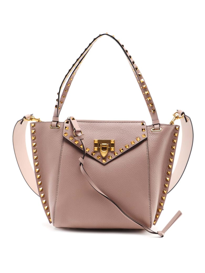 Valentino Garavani Sm Rockstud Hype Bag - Poudre/rouge Pure